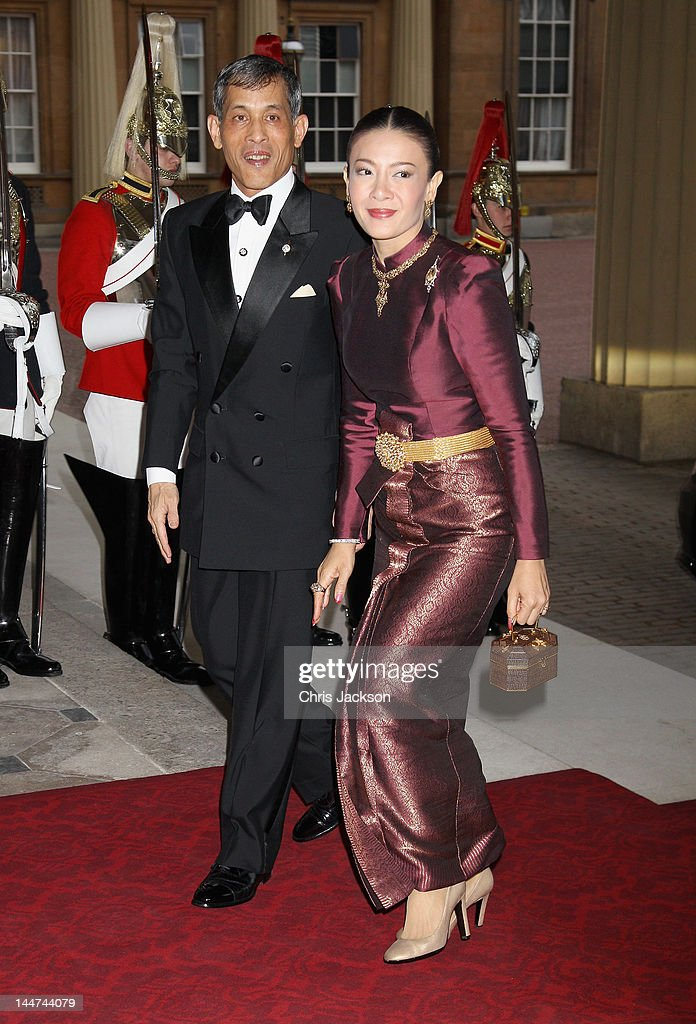Princess Srirasm of Thailand and the Crown Prince of Thailand attend a dinner for foreign Sovereigns to commemorate the Diamond Jubilee at Buckingham Palace on May 18, 2012 in London, England. Prince Charles, Prince of Wales and Camilla, Duchess of Cornwall hosted the event.