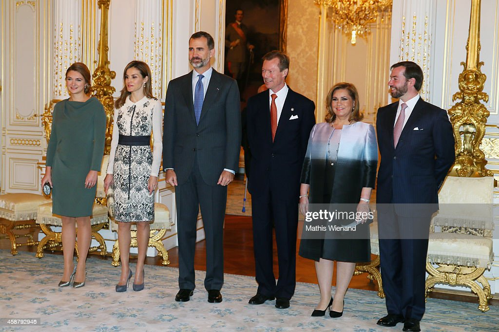 Princess Stephanie de Lannoy, Queen <a gi-track='captionPersonalityLinkClicked' href=/galleries/search?phrase=Letizia+of+Spain&family=editorial&specificpeople=158373 ng-click='$event.stopPropagation()'>Letizia of Spain</a>, King <a gi-track='captionPersonalityLinkClicked' href=/galleries/search?phrase=Felipe+VI+of+Spain&family=editorial&specificpeople=4881076 ng-click='$event.stopPropagation()'>Felipe VI of Spain</a>, Grand Duke Henri of Luxembourg, <a gi-track='captionPersonalityLinkClicked' href=/galleries/search?phrase=Grand+Duchess+Maria+Teresa&family=editorial&specificpeople=159000 ng-click='$event.stopPropagation()'>Grand Duchess Maria Teresa</a> of Luxembourg and Prince Guillaume, Hereditary Grand Duke of Luxembourg attend a one-day official visit by the Spanish Royals on November 11, 2014 in Luxembourg, Luxembourg.