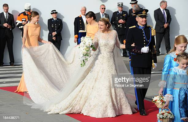 Princess Stephanie of Luxembourg and her brother Count Jehan de Lannoy arrive at the wedding ceremony of Prince Guillaume Of Luxembourg and Princess...