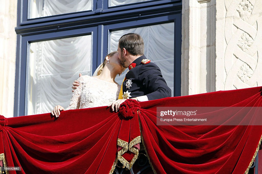 Princess Stephanie of Luxembourg and Prince Guillaume of Luxembourg kiss on the balcony of the Grand-Ducal Palace after their wedding ceremony at the Cathedral of our Lady of Luxembourg on October 20, 2012 in Luxembourg, Luxembourg. The 30-year-old hereditary Grand Duke of Luxembourg is the last hereditary Prince in Europe to get married, marrying his 28-year old Belgian Countess bride in a lavish 2-day ceremony.