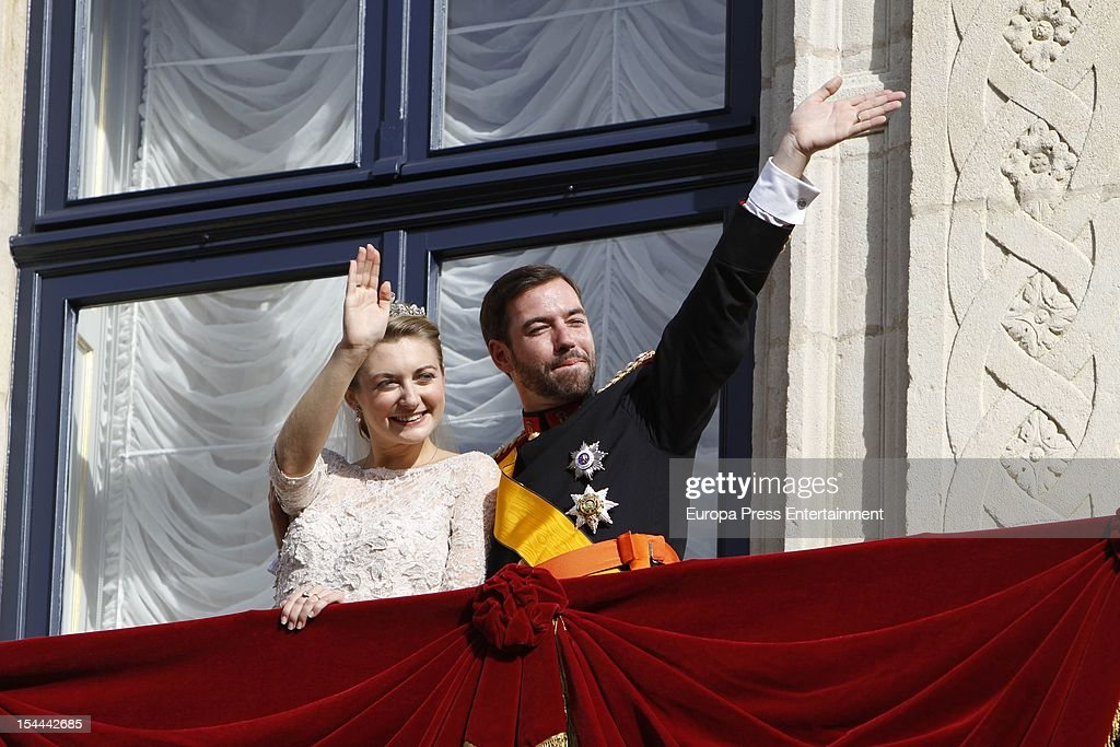 Princess Stephanie of Luxembourg and Prince Guillaume of Luxembourg wave from the balcony of the Grand-Ducal Palace after their wedding ceremony at the Cathedral of our Lady of Luxembourg on October 20, 2012 in Luxembourg, Luxembourg. The 30-year-old hereditary Grand Duke of Luxembourg is the last hereditary Prince in Europe to get married, marrying his 28-year old Belgian Countess bride in a lavish 2-day ceremony.