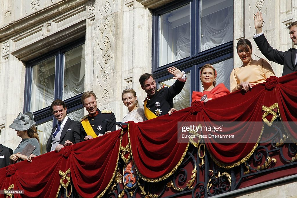 Princess Stephanie of Luxembourg and Prince Guillaume of Luxembourg with the Luxembourg royal family wave from the balcony of the Grand-Ducal Palace after their wedding ceremony at the Cathedral of our Lady of Luxembourg on October 20, 2012 in Luxembourg, Luxembourg. The 30-year-old hereditary Grand Duke of Luxembourg is the last hereditary Prince in Europe to get married, marrying his 28-year old Belgian Countess bride in a lavish 2-day ceremony.