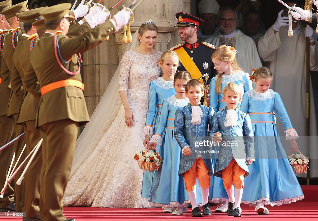 Princess Stephanie of Luxembourg and Prince Guillaume of Luxembourg leave the church after their wedding ceremony at the Cathedral of our Lady of Luxembourg on October 20, 2012 in Luxembourg, Luxembourg. The 30-year-old hereditary Grand Duke of Luxembourg is the last hereditary Prince in Europe to get married, marrying his 28-year old Belgian Countess bride in a lavish 2-day ceremony.