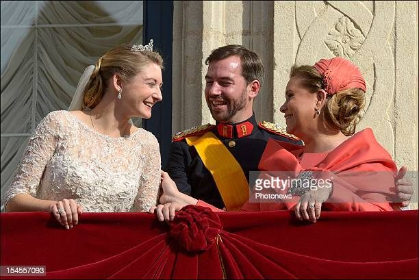 Princess Stephanie of Luxembourg and Prince Guillaume Of Luxembourg with Maria Teresa Grand Duchess of Luxembourg on the balcony of the GrandDucal...