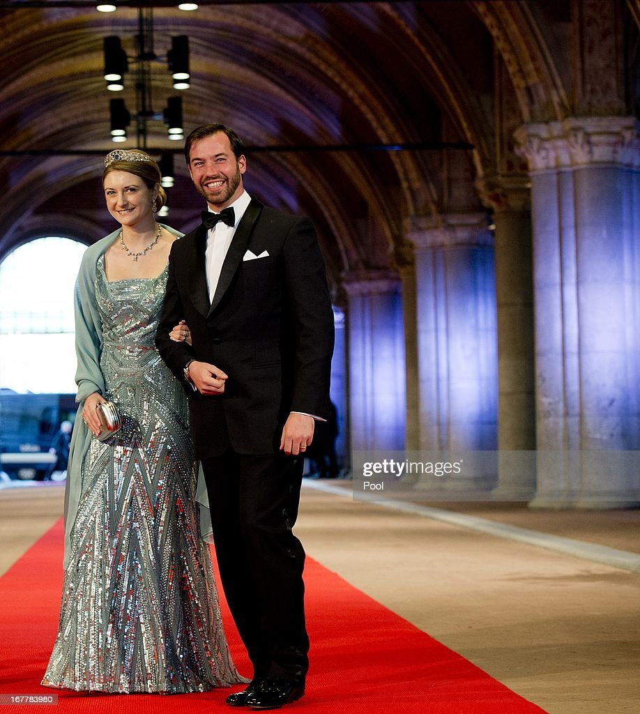 Princess Stephanie of Luxembourg and Prince Guillaume of Luxembourg arrive to attend a dinner hosted by Queen Beatrix of The Netherlands ahead of her abdication at Rijksmuseum on April 29, 2013 in Amsterdam, Netherlands.