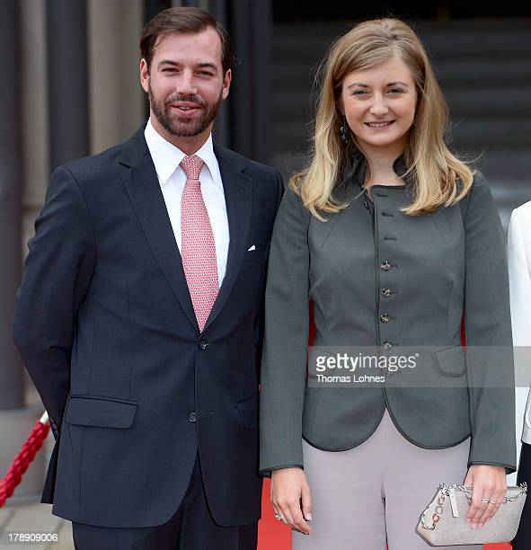 Princess Stephanie of Luxembourg and the hereditary Grand Duke Prince Guillaume of Luxembourg visit the state chancellery on August 31 2013 in...