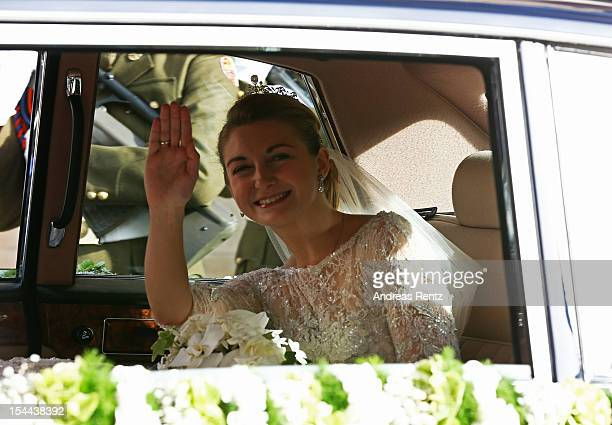 Princess Stephanie of Luxembourg departs from the GrandDucal Palace for the wedding ceremony of Prince Guillaume Of Luxembourg and Princess Stephanie...