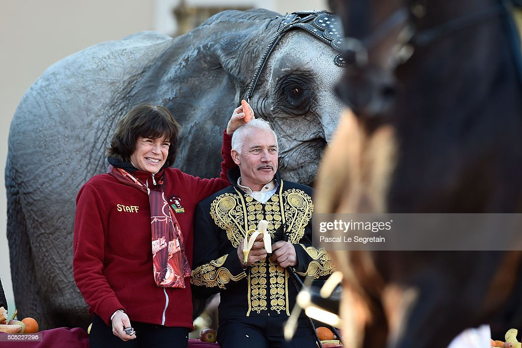 Princess Stephanie of Monaco (L) and Cassely attend the parade of the 40th International Circus Festival on January 16, 2016 in Monaco.