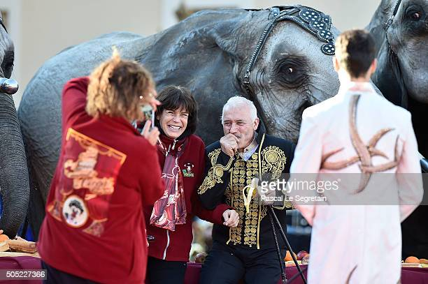 Princess Stephanie of Monaco and Cassely attend the parade of the 40th International Circus Festival on January 16 2016 in Monaco Monaco