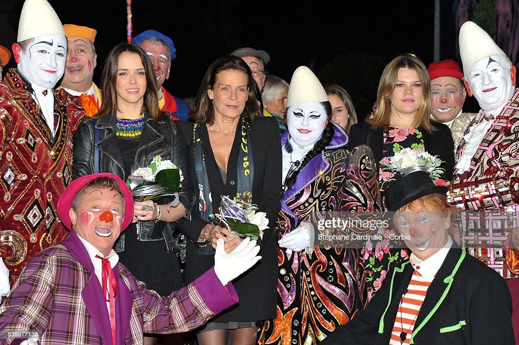 Princess Stephanie of Monaco and daughters Pauline Ducruet (L) and Camille Gottlieb (R) attend the 38th International Circus Festival, in Monaco.