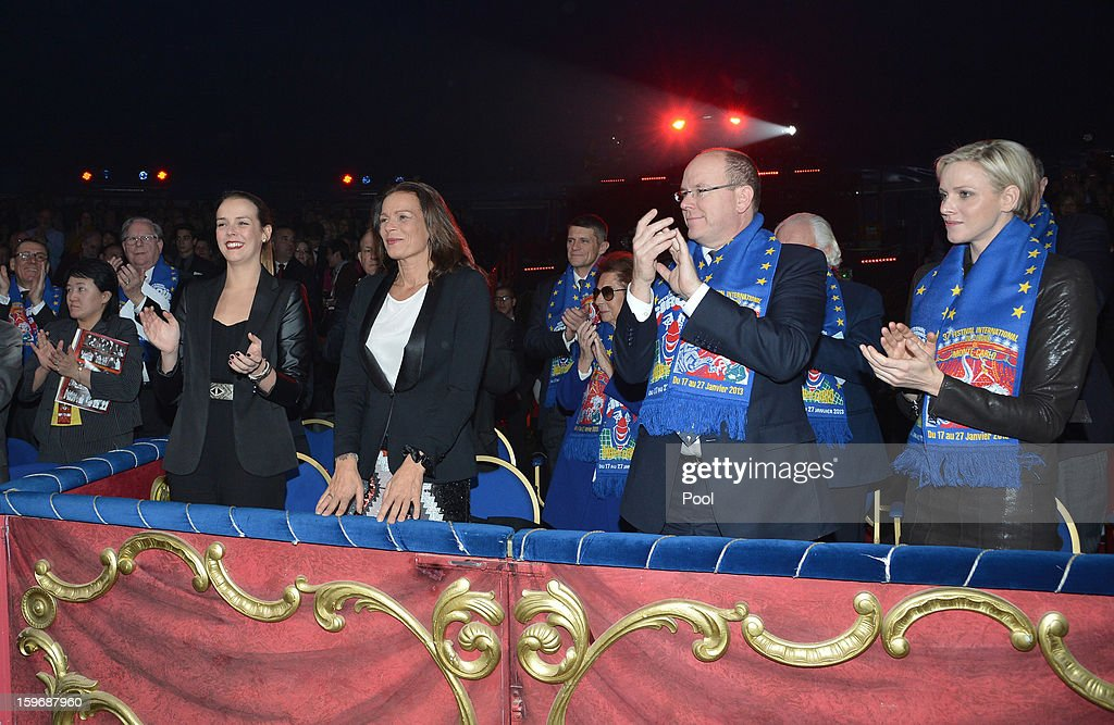 Princess Stephanie of Monaco and her daughter Pauline Ducruet , Princess Charlene of Monaco and Prince Albert II of Monaco attend the opening of the Monte-Carlo 37th International Circus Festival on January 17, 2013 in Monte-Carlo, Monaco.
