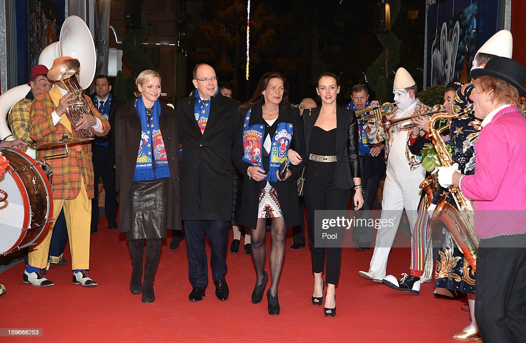 Princess Stephanie of Monaco and her daughter <a gi-track='captionPersonalityLinkClicked' href=/galleries/search?phrase=Pauline+Ducruet&family=editorial&specificpeople=2084053 ng-click='$event.stopPropagation()'>Pauline Ducruet</a> , Princess Charlene of Monaco and Prince Albert II of Monaco attend the opening of the Monte-Carlo 37th International Circus Festival on January 17, 2013 in Monte-Carlo, Monaco.