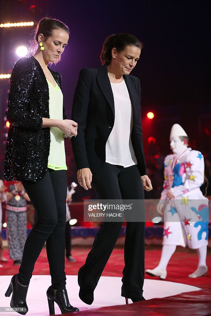 Princess Stephanie of Monaco (R) and her daughter Pauline Ducruet (L) walk the second New Generation International Circus Festival in Monaco on February 3, 2013. The event runs from February 2 until February 3, 2013.