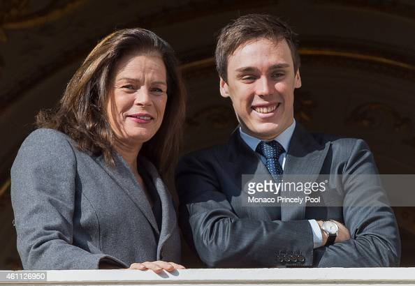 Princess Stephanie of Monaco and her son Louis Ducruet attend the official presentation of the Monaco twins on the balcony of the Monaco Palace on...
