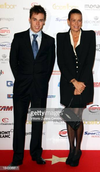 Princess Stephanie of Monaco and her son Louis Ducruet pose at the Golden Foot Award 2012 ceremony at MonteCarlo Sporting Club on October 17 2012 in...