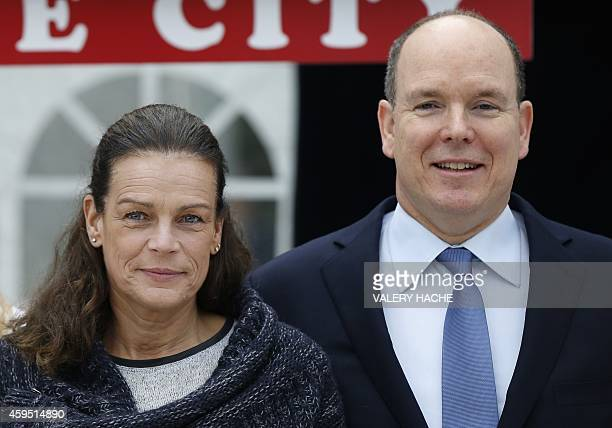Princess Stephanie of Monaco and Prince's Albert II of Monaco pose as part of the day to promote the HIV 'Test in the city Monaco' a preventive...