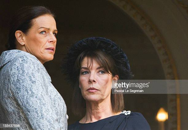 Princess Stephanie of Monaco and Princess Caroline of Hanover attend the National Day Parade as part of Monaco National Day Celebrations on November...