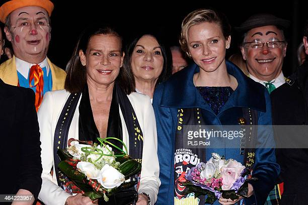Princess Stephanie of Monaco and Princess Charlene of Monaco attend the 38th International Circus Festival on January 21 2014 in MonteCarlo Monaco