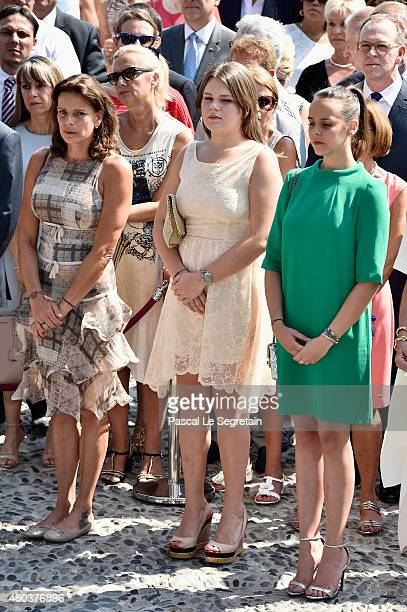 Princess Stephanie of Monaco Camille Gottlieb and Pauline Ducruet attend the First Day of the 10th Anniversary on the Throne Celebrations on July 11...