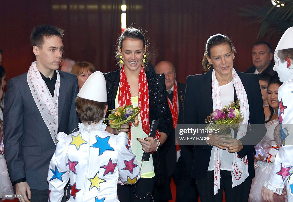 Princess Stephanie of Monaco (R), her daughter Pauline Ducruet (C) and son Louis (L) arrive to the second New Generation International Circus Festival in Monaco on February 3, 2013. The event runs from February 2 until February 3, 2013. AFP PHOTO / VALERY HACHE