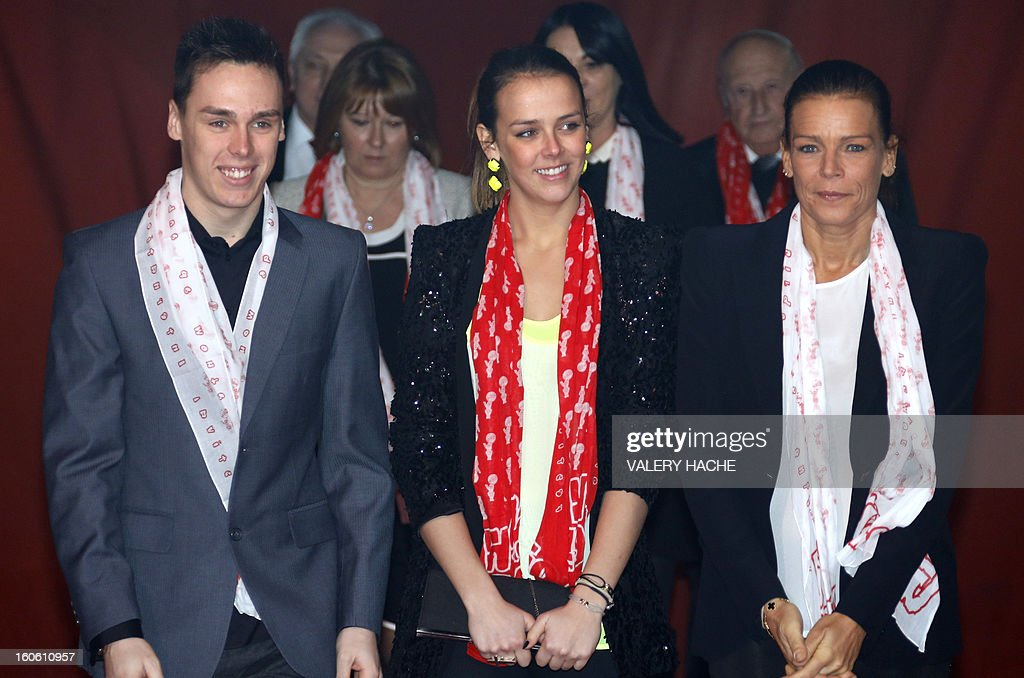 Princess Stephanie of Monaco (R), her daughter Pauline Ducruet (C) and son Louis (L) arrive to the second New Generation International Circus Festival in Monaco on February 3, 2013. The event runs from February 2 until February 3, 2013.
