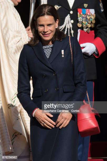 Princess Stephanie of Monaco leaves the Cathedral of Monaco after a mass during the Monaco National Day Celebrations on November 19 2017 in Monaco...
