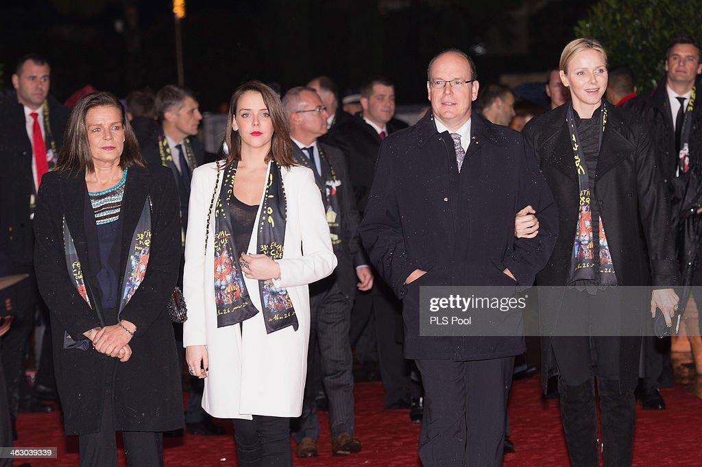 Princess Stephanie of Monaco, Pauline Ducruet, Prince Albert II of Monaco and Princess Charlene of Monaco attend the 38th International Circus Festival on January 16, 2014 in Monte-Carlo, Monaco.