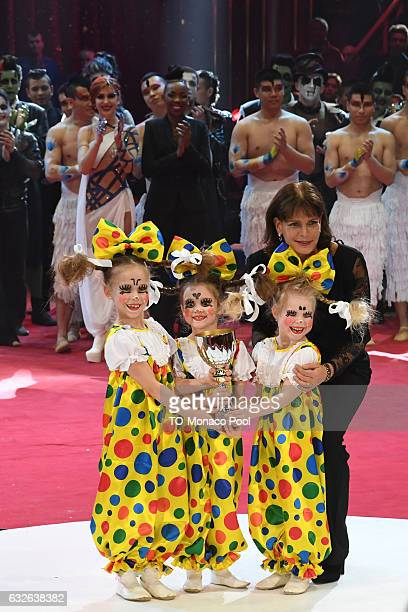 Princess Stephanie of Monaco poses with young performers during the 41st MonteCarlo International Circus Festival on January 24 2017 in Monaco Monaco