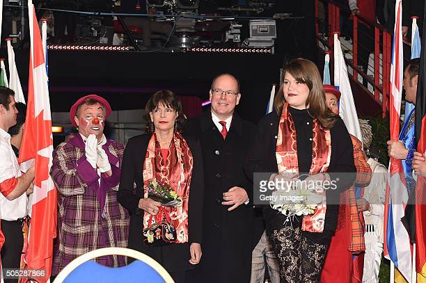 Princess Stephanie of Monaco Prince Albert II of Monaco and Camille Gottlieb attend the 40th International Circus Festival on January 16 2016 in...