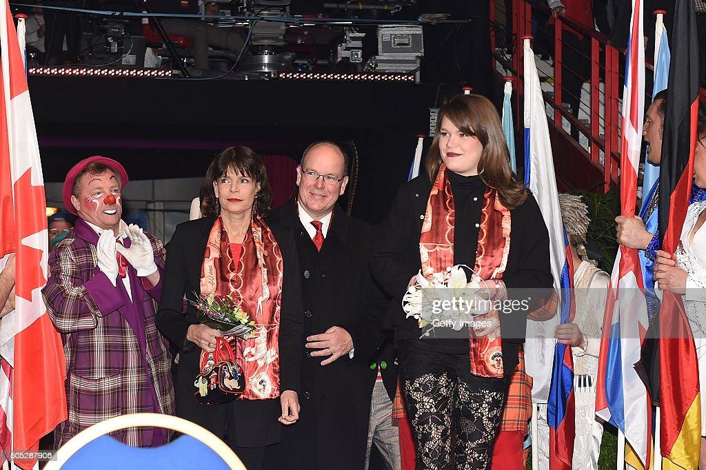 Princess Stephanie of Monaco, Prince Albert II of Monaco and Camille Gottlieb attend the 40th International Circus Festival on January 16, 2016 in Monaco, Monaco.