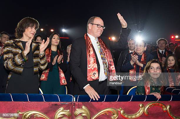 Princess Stephanie of Monaco Prince Albert II of Monaco and Princess Caroline of Hanover attend the 40th International Circus Festival on January 19...