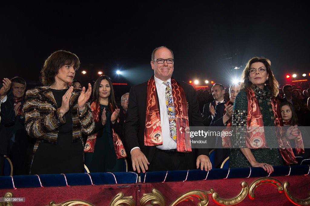 Princess Stephanie of Monaco Prince Albert II of Monaco and Princess Caroline of Hanover attend the 40th International Circus Festival on January 19...