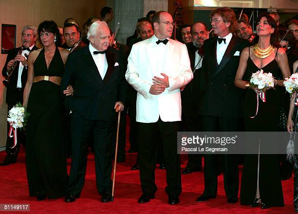 Princess Stephanie of Monaco Prince Rainier of Monaco Prince Albert of Monaco Prince Ernst August of Hanover and Princess Caroline of Monaco arrive...