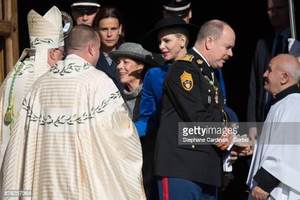 Princess Stephanie of Monaco Princess Caroline of Hanover Charlene of Monaco and Prince Albert II of Monaco leave the Cathedral of Monaco after a...
