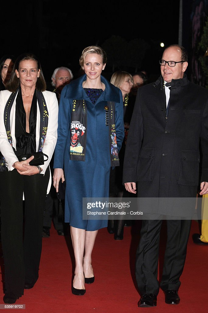 Princess Stephanie of Monaco, Princess Charlene of Monaco and Prince Albert II of Monaco attend the 38th International Circus Festival on January 21, 2014 in Monte-Carlo, Monaco.
