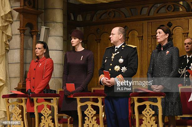 Princess Stephanie of Monaco Princess Charlene of MonacoPrince Albert II of Monaco and Princess Caroline of Hanover attend a mass at the Cathedral of...