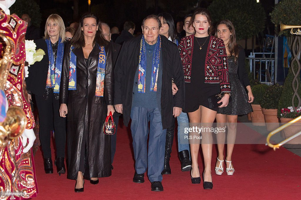 Princess Stephanie of Monaco Robert Hossein and Camille Gottlieb attend the 39th International Monte Carlo Circus Festival on January 17 2015 in...