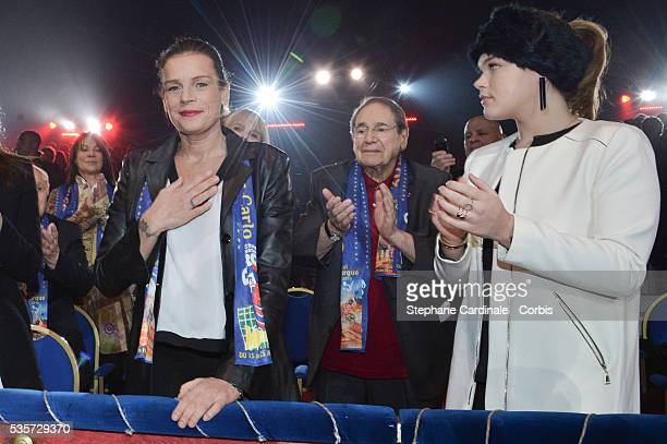 Princess Stephanie of Monaco Robert Hossein and Camille Gottlieb attend the 39th International Circus Festival of MonteCarlo on January 18 2015 in...
