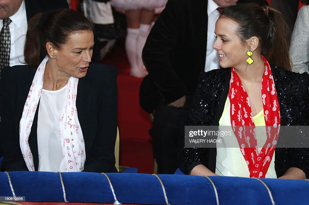 Princess Stephanie of Monaco (L), speaks with her daughter Pauline Ducruet at the second New Generation International Circus Festival in Monaco on February 3, 2013. The event runs from February 2 until February 3, 2013.
