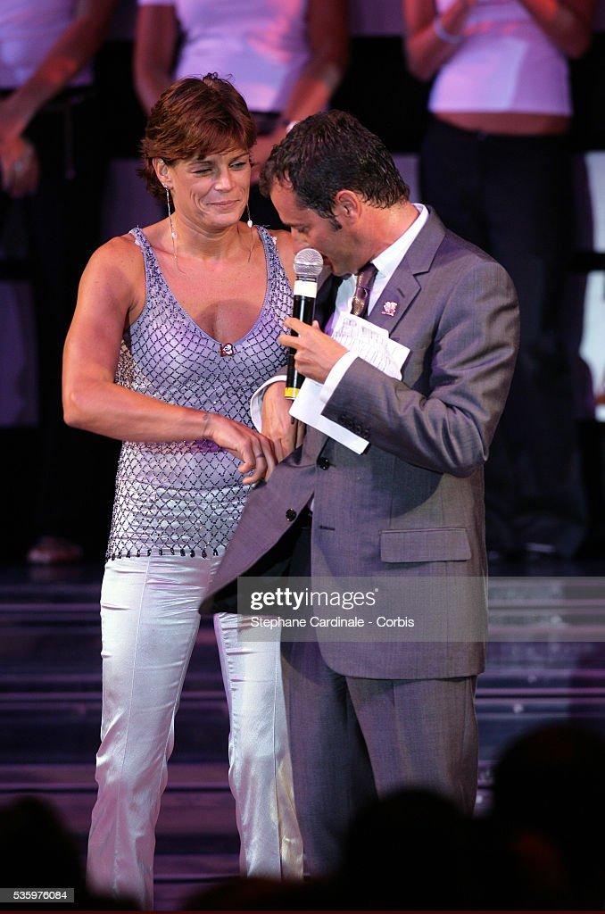 HSH Princess Stephanie of Monaco (Chairwoman of Fights Aids Monaco Association) with Bernard Montiel.