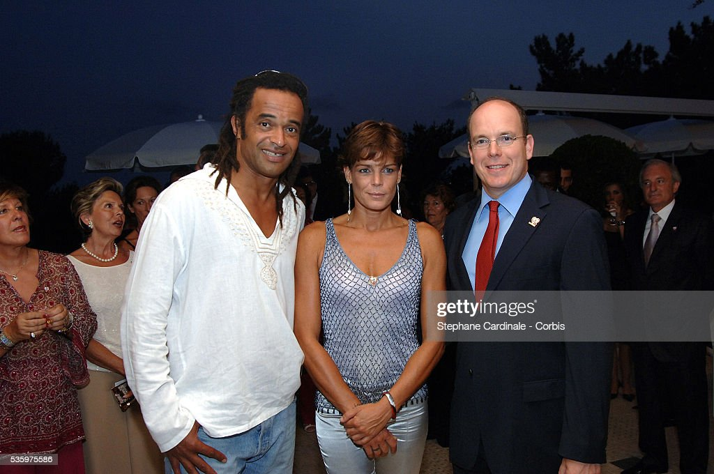HSH Princess Stephanie of Monaco (Chairwoman of Fights Aids Monaco Association) with her brother HSH Prince Albert II of Monaco and Yannick Noah.