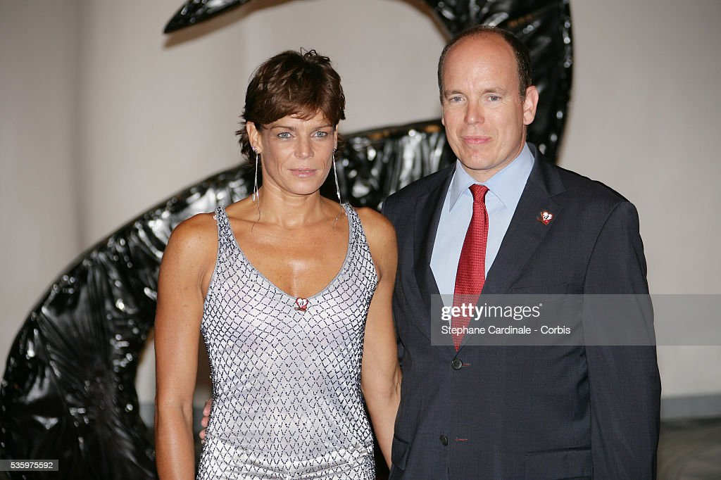 HSH Princess Stephanie of Monaco (Chairwoman of Fights Aids Monaco Association) with her brother HSH Prince Albert II of Monaco.