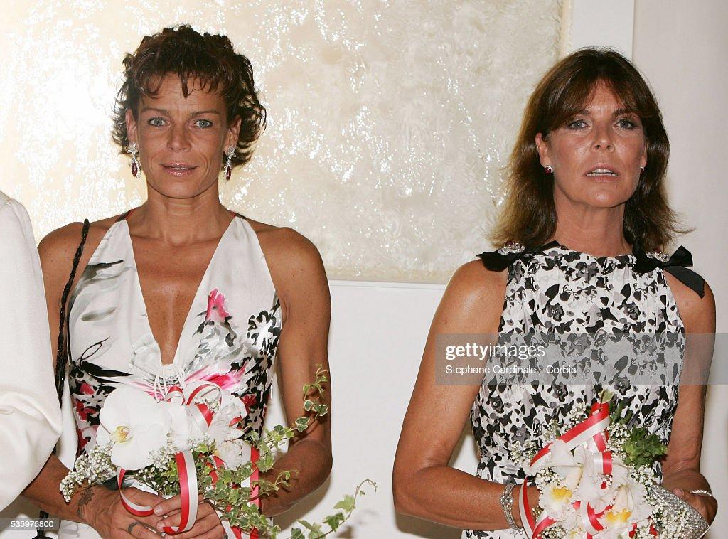 HSH Princess Stephanie of Monaco (L) with her sister HRH Princess Caroline of Hanover.