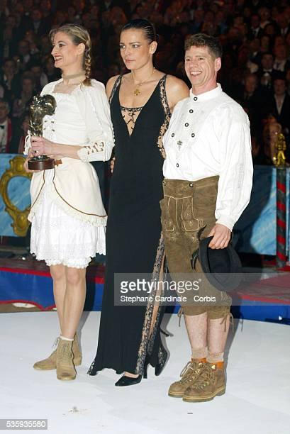Princess Stephanie presents a 'Bronze Clown' to Maike and Jorge Probst