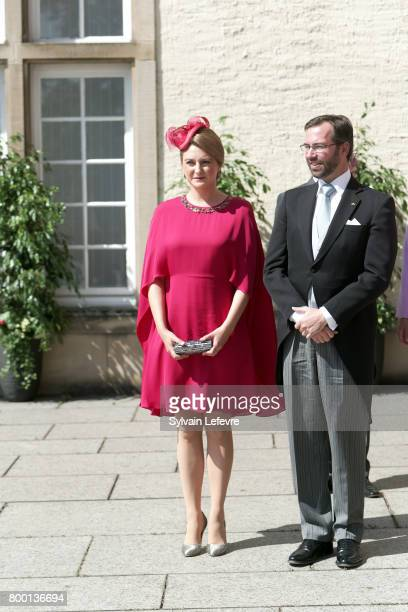 Princess Stephanie Prince Guillaume of Luxembourg arrive for the Te Deum for National Day at Notre Dame du Luxembourg cathedral on June 23 2017 in...