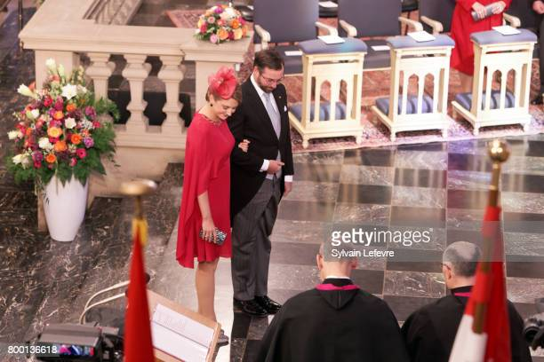 Princess Stephanie Prince Guillaume of Luxembourg attend Te Deum for National Day at Notre Dame du Luxembourg cathedral on June 23 2017 in Luxembourg...