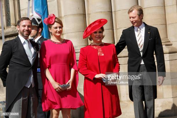 Princess Stephanie Prince Guillaume of Luxembourg Grand Duchess Maria Teresa of Luxembourg Grand Duke Henri of Luxembourg arrive for Te Deum for...