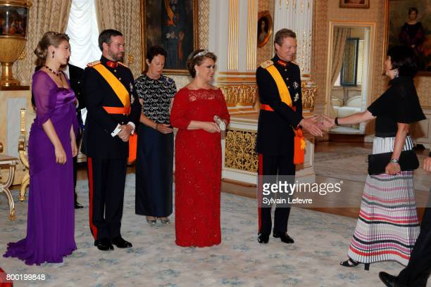Princess Stephanie Prince Guillaume of Luxembourg Grand Duchess Maria Teresa of Luxembourg Grand Duke Henri of Luxembourg welcome the guests of the...