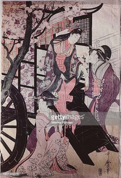 Princess stepping down from a carriage Utamaro Japan