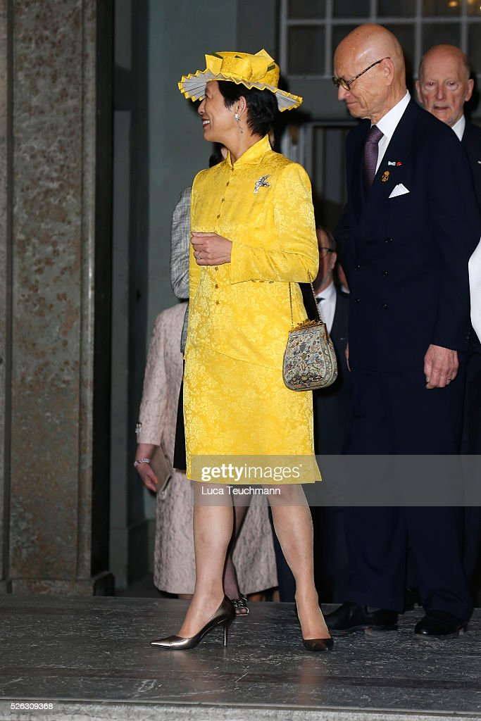 Princess Takamado arrives at the Royal Palace to attend Te Deum Thanksgiving Service to celebrate the 70th birthday of King Carl Gustaf of Sweden on April 30, 2016 in Stockholm, Sweden.